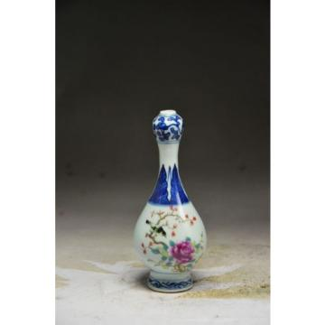 Sublime Chinese blue and white porcelain hand painting people garlic shape vase
