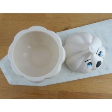 Cute Vintage Anthropomorphic Ceramic Garlic Keeper Storage Container with Lid