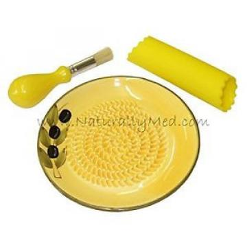 Garlic Grater Set (garlic grater, silicone peeler, brush) - Ceramic, Yellow w...