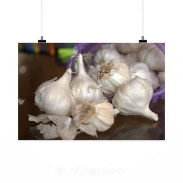 Stunning Poster Wall Art Decor Garlic Fresh Spices Food Healthy 36x24 Inches