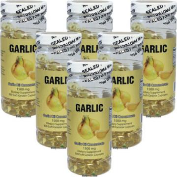 6 x Garlic Oil 3 MG 500:1 Concentrate = 1500 mg 300 Capsules FRESH Made In USA