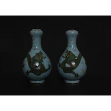 Pair Antique Chinese Famille-Rose Dragon Garlic-head Vases Qianlong Mark s128
