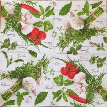 2 single paper napkins Decoupage Scrapbooking Collection Tomato Seasoning Garlic