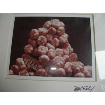 Signed print stack of garlic framed & matted Mel Felix 5.5 x 6 overall 12 x 15