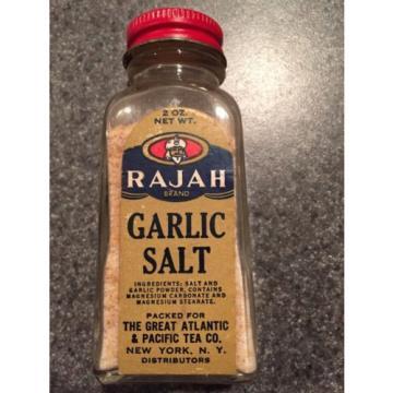 A&P Brand Rajah Garlic Salt 2 Ounce Jar Vintage