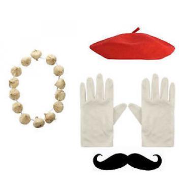 New French Fancy Dress Costume Frenchman Red Beret Hat & Gloves & Tash & Garlic