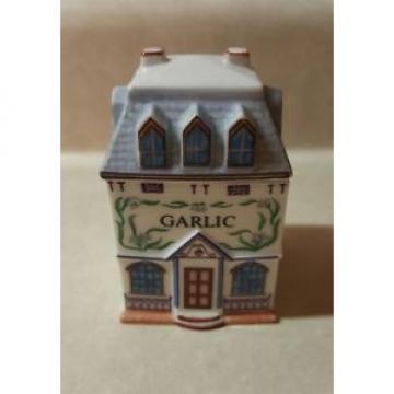 *Vintage 1989 Lenox Spice Village GARLIC Cottage Porcelain Spice Herb Jar W Lid*