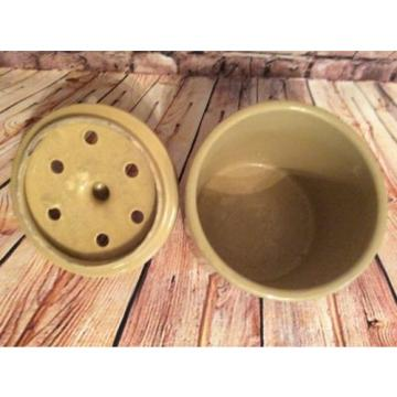 VINTAGE STONEWARE CROCK GARLIC/ GINGER ETC KEEPER AERATED IN LID CROCK