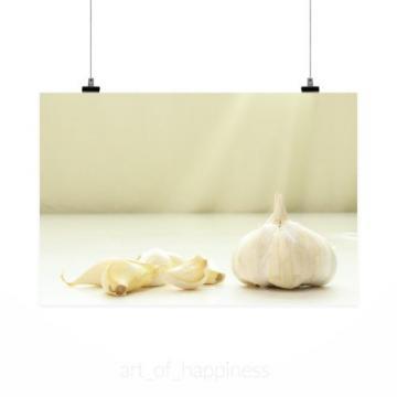 Stunning Poster Wall Art Decor Garlic Raw Raw Garlic White 36x24 Inches
