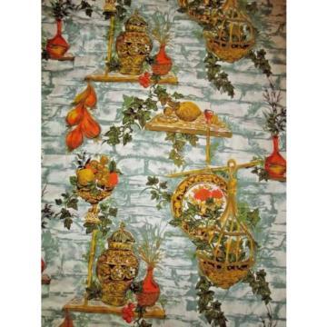 """Vintage 70's 80's Fabric Kitchen 78"""" x 68"""" garlic Fruit"""