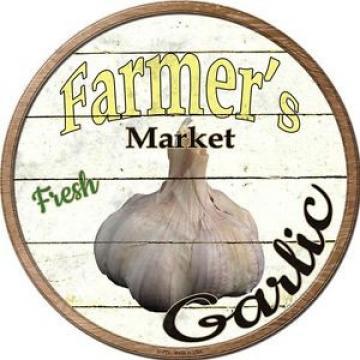 "GARLIC Farmers Market 12"" Round Vintage Style Metal Signs Retro Kitchen Decor"