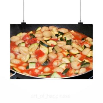 Stunning Poster Wall Art Decor Gnocchi Zucchini Tomatoes Garlic 36x24 Inches