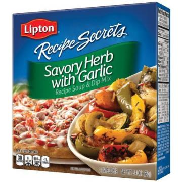 Lipton Recipe Secrets Soup and Dip Mix, Savory Herb with Garlic 2.4 oz Pack of 6