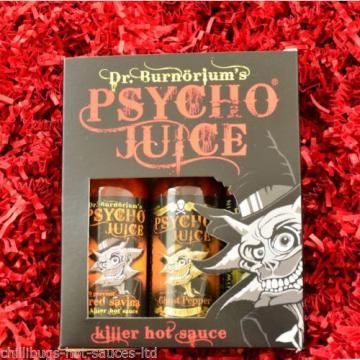 """Dr Burnorium's """"Psycho Juice Gift Set"""" - Red Savina, Garlic & Smoked Naga Chilli"""