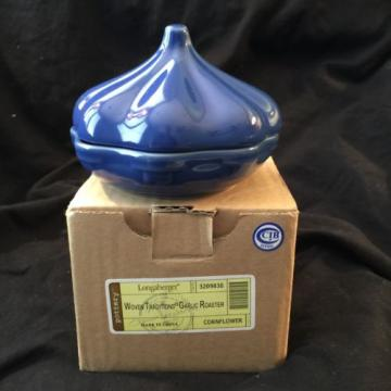 Longaberger Ceramic Garlic Roaster Cornflower. RETIRED. New In Box