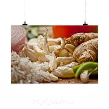 Stunning Poster Wall Art Decor Garlic Ginger Herbs Cooking 36x24 Inches