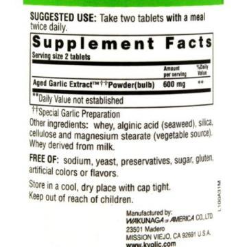 Kyolic Aged Garlic Extract Cardiovascular Formula 100 - 100 Tablets
