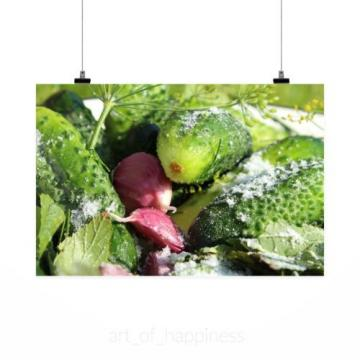 Stunning Poster Wall Art Decor Cucumbers Salt Garlic Salting 36x24 Inches
