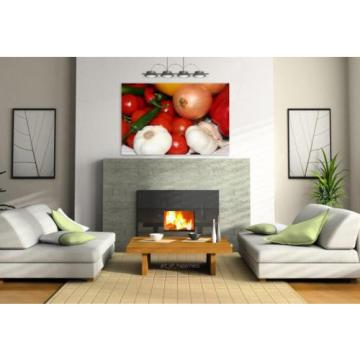 Stunning Poster Wall Art Decor Vegetables Pepperoni Garlic Onions 36x24 Inches