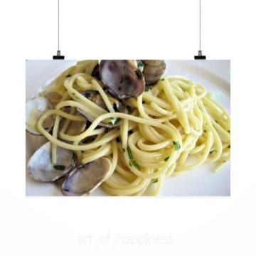 Stunning Poster Wall Art Decor Spaghetti Pasta Clams Garlic 36x24 Inches