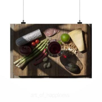Stunning Poster Wall Art Decor Wine Asparagus Cheese Garlic Chili 36x24 Inches