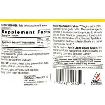 Kyolic Aged Garlic Extract Cholesterol Formula 104 - 300 Capsules