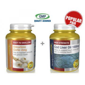 SimplySupplements Odourless Garlic 2mg 360 Caps & Cod Liver Oil 1000mg 360 Caps