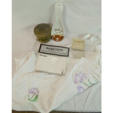 Lot of 5 Kitchen Collectibles Garlic Keeper Spoon Holder Embroidered Apron Watch