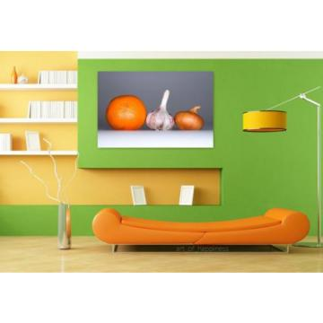 Stunning Poster Wall Art Decor Garlic Onion Orange Food Spices 36x24 Inches