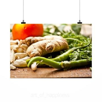 Stunning Poster Wall Art Decor Garlic Ginger Chilli Herbs Cooking 36x24 Inches