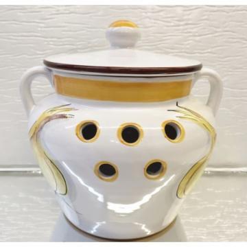LILLIAN VERNON Garlic Jar w/Lid Italy