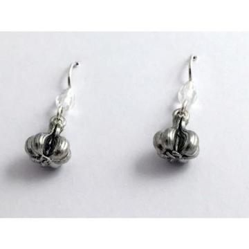 Pewter & Sterling Silver Garlic bulb dangle Earrings-clove,chef, vampire, cloves