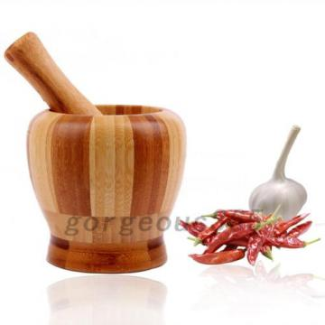 Wood Garlic Ginger Herb Mixing Grinding Spice Crusher Bowl Mortar and Pestle 2PC