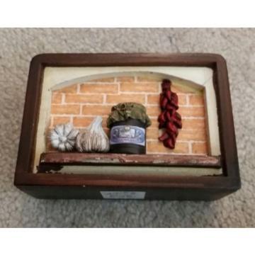 napkin garlic pepper wooden holder with original box