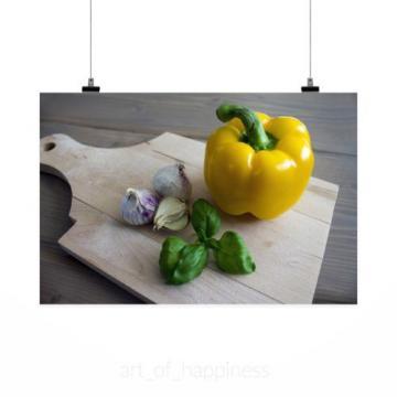 Stunning Poster Wall Art Decor Paprika Basil Garlic Food Italy 36x24 Inches