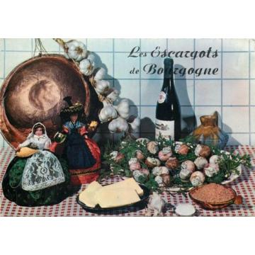 Recette des Escargots de Bourgogne garlic snails french food topic postcard