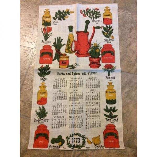 Vintage Calendar Tea Kitchen Towel Spices Oil Garlic Herbs Estate Sale 1973 #1 image
