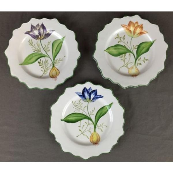 3 San Marco Scalloped Plates Garlic Onion Tulip Flower Made in Italy Crown #1 image