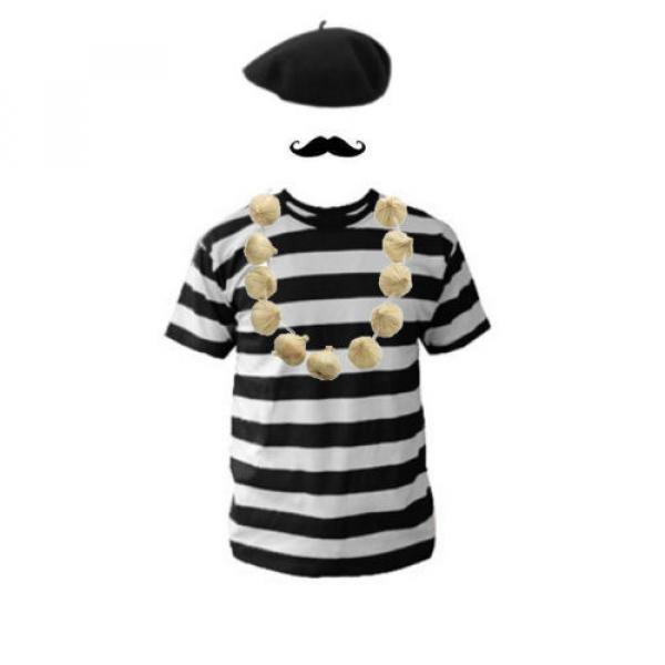 Womens French Lady Fancy Dress Costume Beret T-Shirt Moustache & Garlic Necklace #2 image