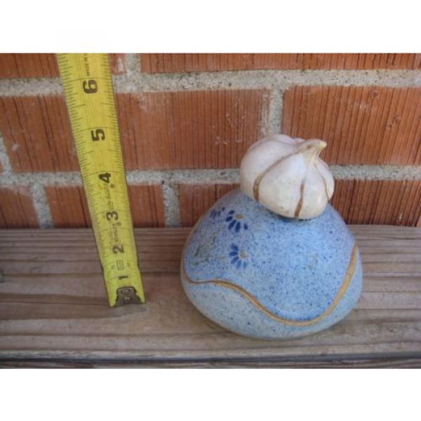 Vintage *** VICKI Signed *** Stoneware Garlic Roaster Kitchen Decor #1 image