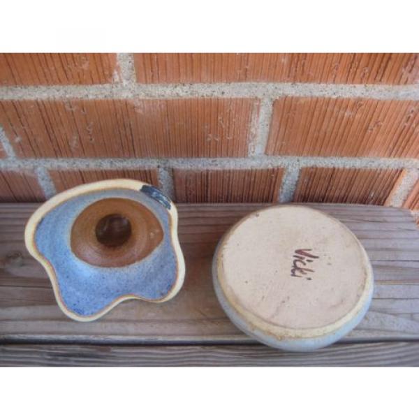 Vintage *** VICKI Signed *** Stoneware Garlic Roaster Kitchen Decor #3 image