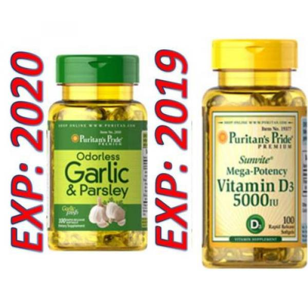 Odorless Garlic and Parsley - Vitamin D3 5000 mg 100 X 2=200 Pills Cholesterol #1 image
