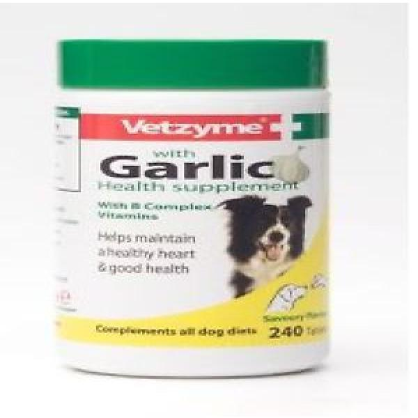 Vetzyme with Garlic Tablets for Dogs Vitaminn B Health Supplements 240 Tablets #1 image