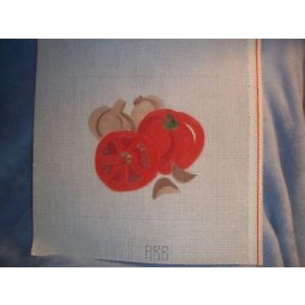 Needlepoint canvas, red tomato & slices, with garlic gloves #1 image