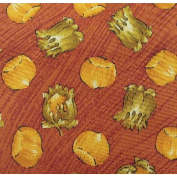 YVES SAINT LAURENT TIE YSL SILK DESIGNER GARLIC ONION PATTERN RED NECKTIE ITALY #3 image