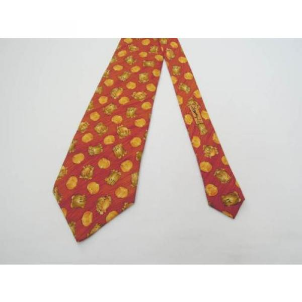 YVES SAINT LAURENT TIE YSL SILK DESIGNER GARLIC ONION PATTERN RED NECKTIE ITALY #4 image