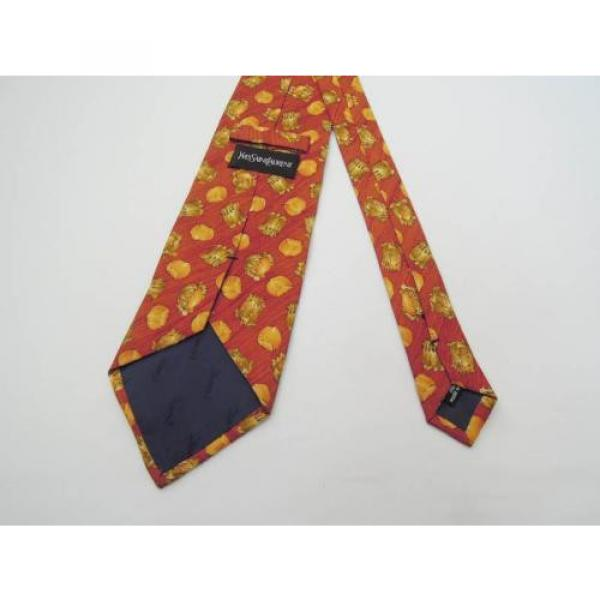 YVES SAINT LAURENT TIE YSL SILK DESIGNER GARLIC ONION PATTERN RED NECKTIE ITALY #5 image