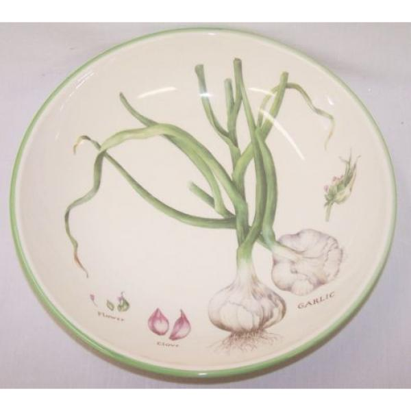 "Williams Sonoma pasta serving bowl 13"" Culinary Herbs Flower Clove Garlic #1 image"